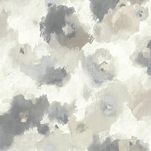 Modern Art Beige Impressionist Floral Wallpaper