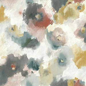 Modern Art Copper and Blue Impressionist Floral Wallpaper