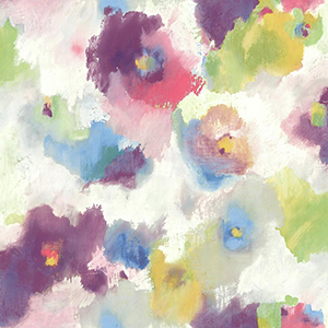 Modern Art Purple and Blue Impressionist Floral Wallpaper
