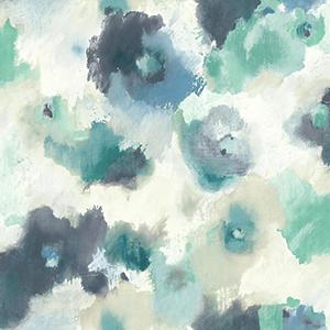 Modern Art Blue Impressionist Floral Wallpaper