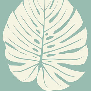 Aviva Stanoff Blue Bali Leaf Wallpaper