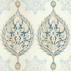 Patina Vie Blue and Cream Wallpaper