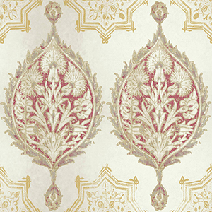 Patina Vie Red and Cream Wallpaper