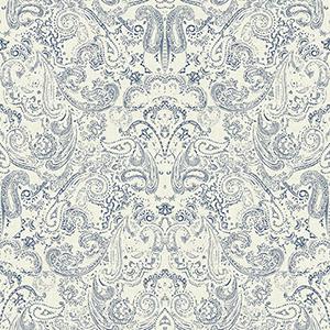 Patina Vie Navy Blue and White Paisley Wallpaper