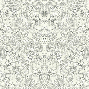 Patina Vie Charcoal and White Paisley Wallpaper