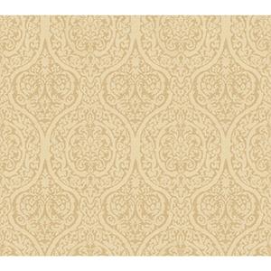 Waverly Classics Golden Wheat and Warm Beige Wallpaper
