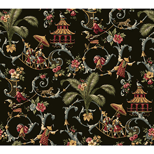 Waverly Classics Black, Gray, Crimson, Caramel, Cream and Sage Wallpaper