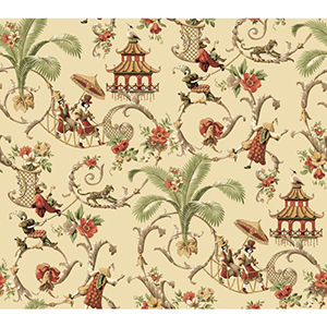 Waverly Classics Ecru, Cocoa, Tomato, Buff, Sage and White Wallpaper