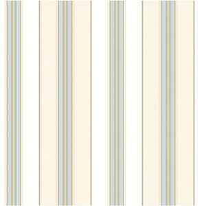 Waverly Classics Cream, White, Sky Blue, Caramel and Taupe Wallpaper