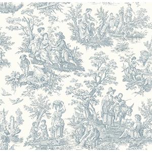Waverly Classics Pure White and Delft Blue Wallpaper