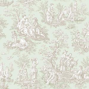Waverly Classics Sea Foam Green, Taupe and Cream Wallpaper