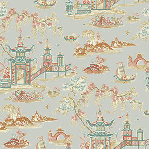 Waverly Classics I Peaceful Temple Removable Metallic Wallpaper