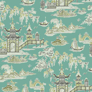 Waverly Classics I Peaceful Temple Removable Blue Wallpaper