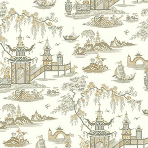 Waverly Classics I Peaceful Temple Removable Black Wallpaper