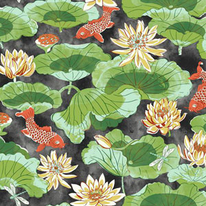Waverly Classics I Lotus Lake Removable Black Wallpaper