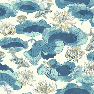 Waverly Classics I Lotus Lake Removable Blue Wallpaper