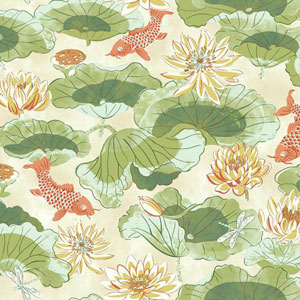 Waverly Classics I Lotus Lake Removable Green Wallpaper