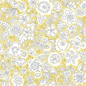 Doodle Garden Yellow Wallpaper