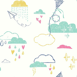 Kites In The Clouds Blue Wallpaper