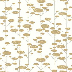 Retro Trees Metallic Gold Wallpaper