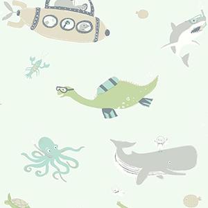 Underwater Exploration Green Wallpaper
