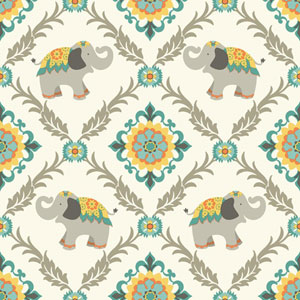 Waverly Kids White and Aqua Bollywood Wallpaper