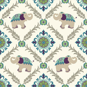 Waverly Kids White and Teal Bollywood Wallpaper