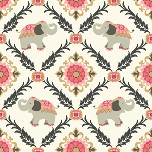 Waverly Kids White and Coral Bollywood Wallpaper