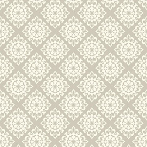 Waverly Kids Grey and White Lotus Wallpaper