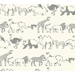Waverly Kids White and Black Congo Line Wallpaper