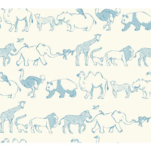 Waverly Kids White and Blue Congo Line Wallpaper