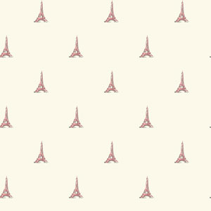 Waverly Kids White and Light Pink Tres Chic Tower Wallpaper