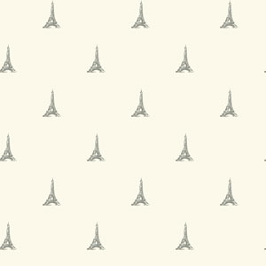 Waverly Kids White and Metallic Silver Tres Chic Tower Wallpaper