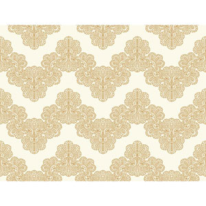 Waverly Kids White and Soft Metallic Gold Airwaves Wallpaper