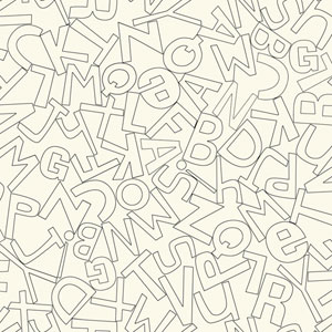 Waverly Kids White and Black Alphabet Soup Wallpaper