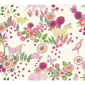 Waverly Kids Pink and Green Reverie Wallpaper