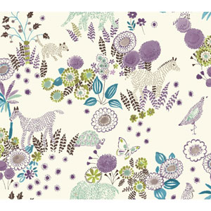 Waverly Kids Purple and Teal Reverie Wallpaper