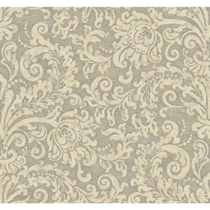 Williamsburg II Silver and Beige Wallpaper