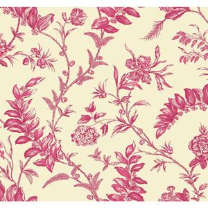 Williamsburg Cream and Pink Solomons Seal Wallpaper