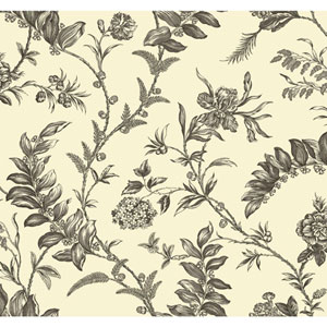Williamsburg Cream and Grey Solomons Seal Wallpaper
