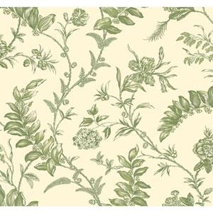 Williamsburg Cream and Green Solomons Seal Wallpaper