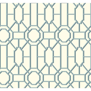 Williamsburg White and Blue Dickinson Trellis Wallpaper
