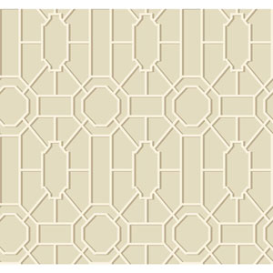 Williamsburg Tan and Cream Dickinson Trellis Wallpaper
