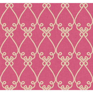 Williamsburg Bright Pink and Beige Galt Embroidery Wallpaper