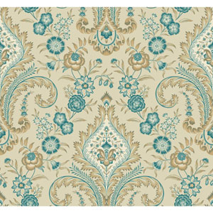 Williamsburg Beige and Aqua Isham Indienne Wallpaper