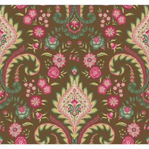 Williamsburg Dark Brown and Pink Isham Indienne Wallpaper