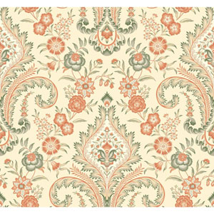 Williamsburg Cream and Orange Isham Indienne Wallpaper