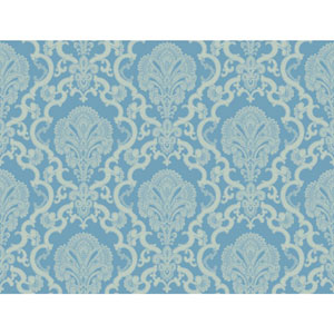 Williamsburg Blue and White Halifax Lace Wallpaper