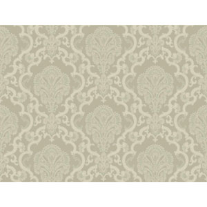 Williamsburg Grey and White Halifax Lace Wallpaper