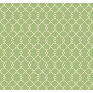 Williamsburg Bright Green and Cream Chippendale Fret Wallpaper